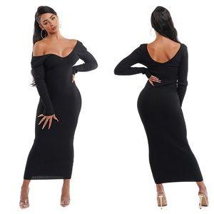 Black Long Sleeve Knit Maxi Dress